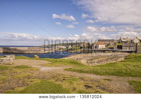 Harbour of scenic Moray Firth traditional coastal fishing village of Portsoy