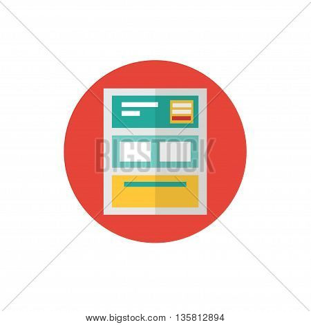 Landing Page Icon -flat vector illustration. Landing and web site symbol on red background - round color icon. Homepage concept. For website graphics, mobile apps, web page layout design.
