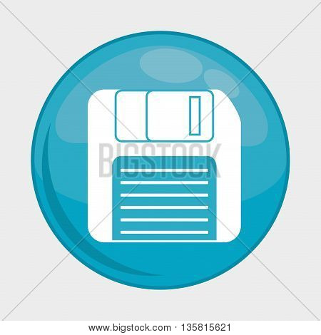 Social Media button represented by diskette multimedia app . Colorfull and isolated illustration