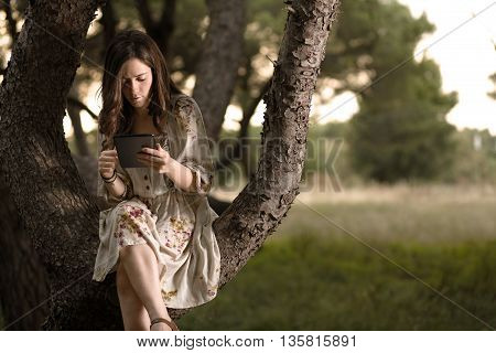 Woman with Tablet Sitting on a Pine Tree in a Park