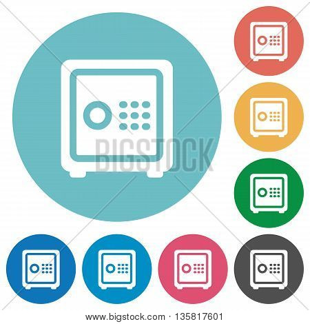 Flat strong box icon set on round color background.