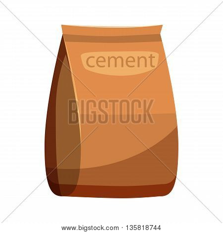 Bag of cement icon in cartoon style on a white background