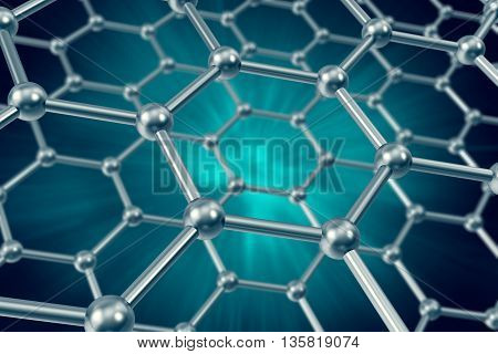 The model structure of graphene sheets on a blue background 3d illustration