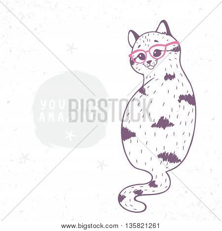 cartoon cute and funny kitten with a glasses. Stylish vector illustration