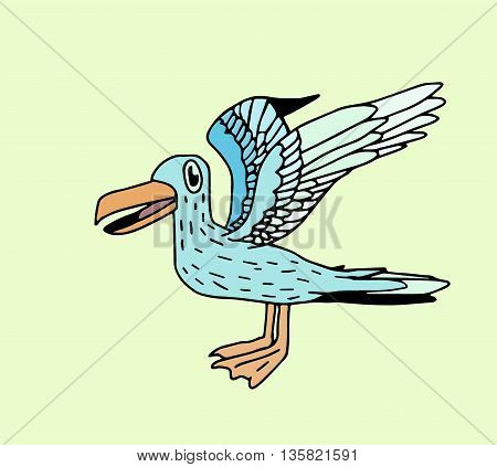 Doodle seagull drawing with colors - stock vector