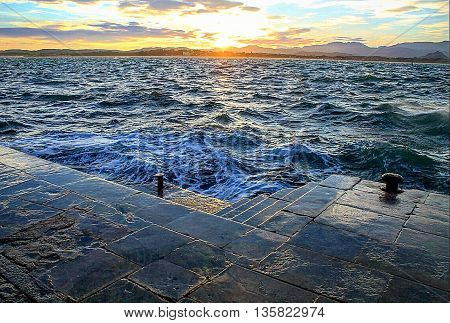 Sunrise in the port of Santander in summer
