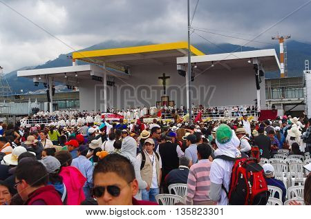 QUITO, ECUADOR - JULY 7, 2015: The location where pope Francisco celebrated the mass, a big cross in the center. Beautiful.