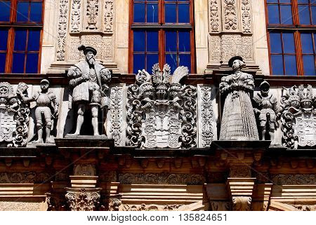 Bregz Poland - June 16 2010: Renaissance figures and decorations adorn the 16th century Palace of the Piasts (Dukes of Silesia) gateway
