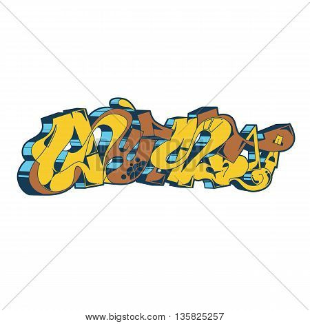 Street art of graffiti. Urban contemporary culture. Abstract color creative drawing. Word gust