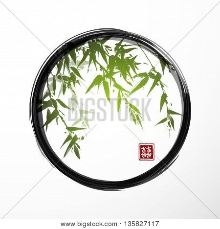 Green bamboo in black enso zen circle.Traditional Japanese ink painting sumi-e. Contains hieroglyph - double luck. Vector illustration.