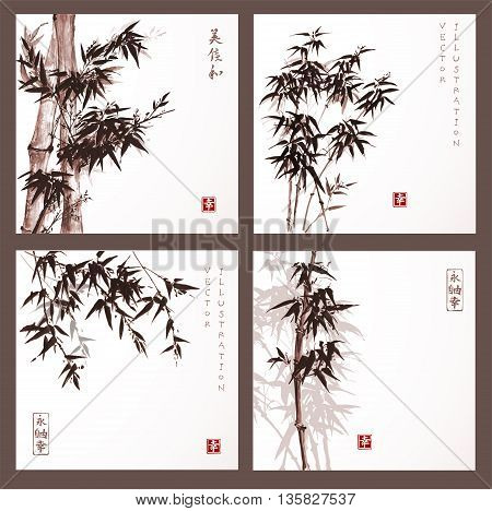 Set of cards with bamboo trees hand drawn with ink in vintage style. Traditional Japanese ink painting sumi-e. Contains hieroglyphs - eternity, freedom, happiness.