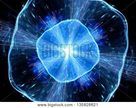 Blue glowing explosion in space computer generated abstract background