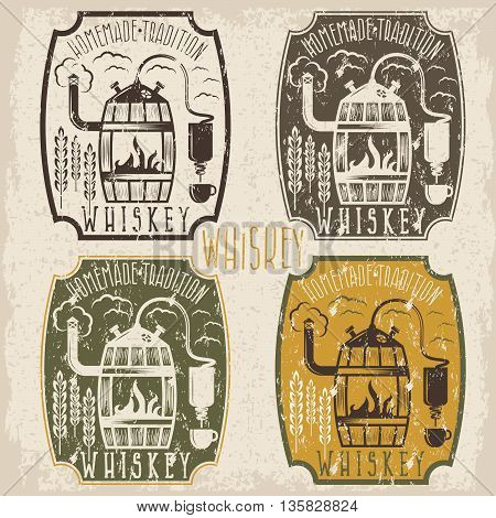 Grunge Vintage Vector Labels Of Whiskey With Home Alcohol Machine