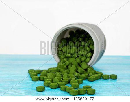 Spirulina. Pharmacological tablet form. Super food for health