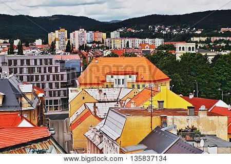2016/06/18 Chomutov city Czech republic - northern part of the Chomutov city under the mountains 'Krusne hory'
