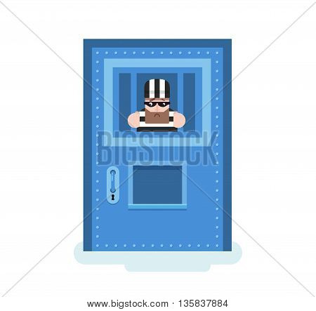 Stock Vector isolated illustration prisoner in jail, prisoner behind prison door