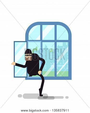 Stock Vector isolated illustration thief climbs through the window