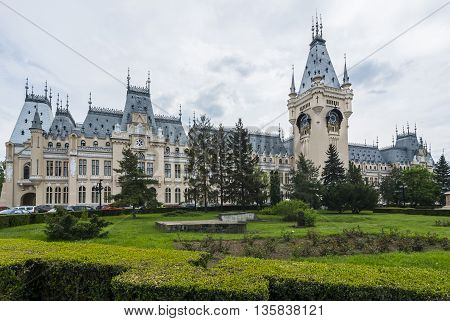 Street view of The Palace of Culture, an edifice in Iasi, Romania. The building served as Administrative Palace, Palace of Justice until 1955 and now for Moldova National Museum.