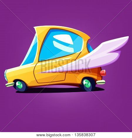 Fast cartoon yellow car with wing. Vector colorful rapid car illustrated quick delivery or taxi