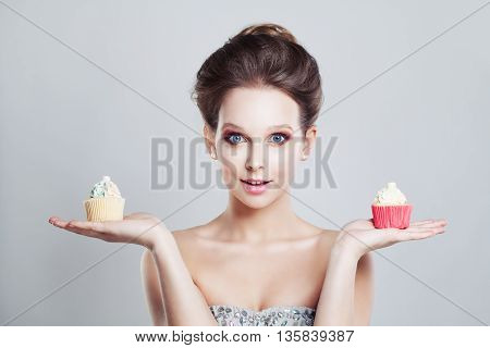 Choice. Unhealthy Food. Woman Holding Sweet Snack
