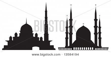 Silhouettes of mosques isolated on white