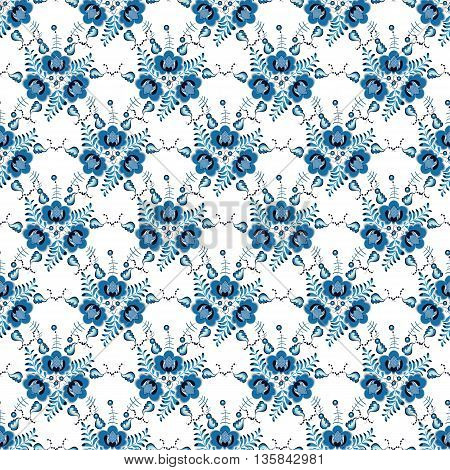 vector seamless background with stylized flowers in blue colors