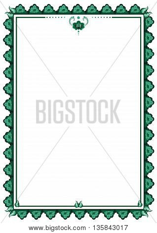 vector frame with stylized flower in green colors