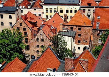 Torun Poland - May 25 2010: View of 17-18th century Hanseatic houses seen from the Town Hall (Rathaus Staromiejski) tower