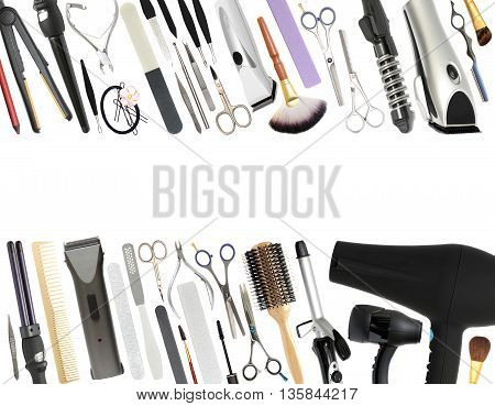 Professional Beauty Salon and Barber shop Equipment Isolated on White Background