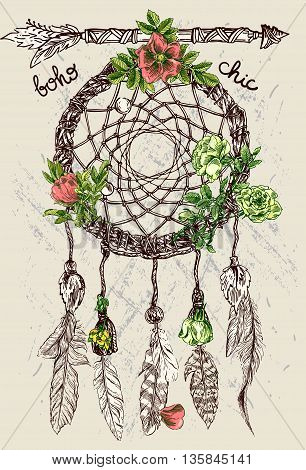 Beautiful hand drawn illustration dreamcatcher. Boho style dreamcatcher. Sketch style feathers.