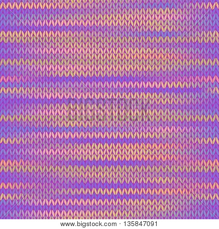 Style Seamless Knitted Melange Pattern. Pink Yellow Lilac Color Vector Illustration