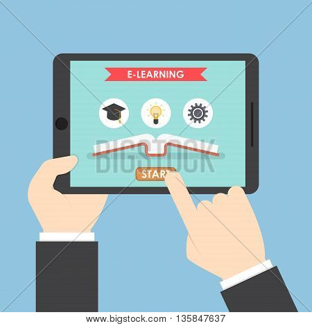 Businessman hands holding tablet computer with e-learning system E-Learning concept