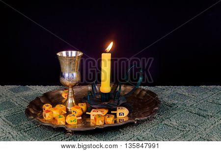 Sabbath image. challah bread and candelas on wooden table Saturday Sabbath