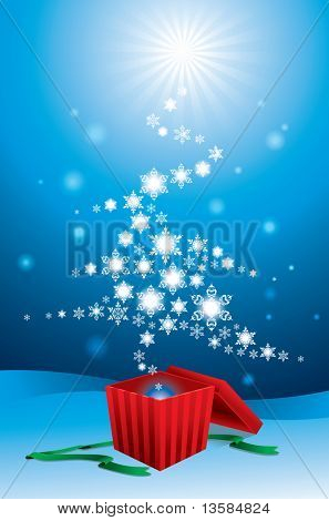 Snow flakes christmas tree appears from a gift box.