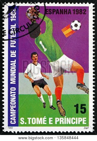 SAO TOME AND PRINCIPE - CIRCA 1982: a stamp printed in Sao Tome and Principe shows Goalie Catching Ball from Emblem in Front of Goal circa 1982