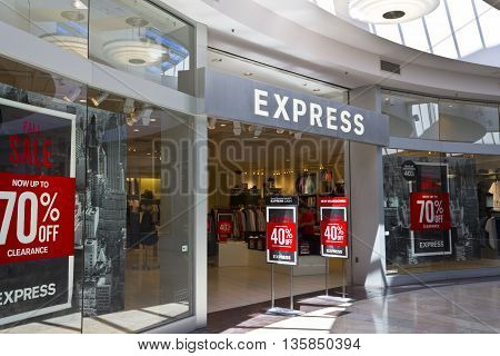 Indianapolis - Circa June 2016: Express Retail Mall Location. Express Inc. is a Fashion Retailer that Caters to Young People I
