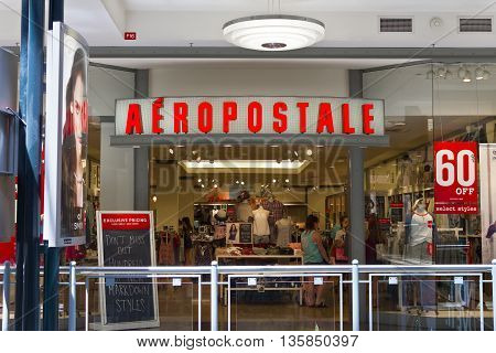 Indianapolis - Circa June 2016: Aeropostale Retail Mall Location. Aeropostale Sells Casualwear and Accessories I