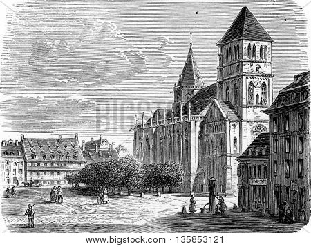 Church of Saint Thomas  in Strasbourg, Alsace, France. From Chemin des Ecoliers, vintage engraving, 1876.