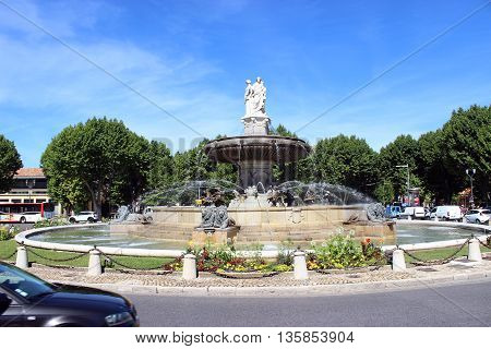 Aix-En-Provence France - June 19 2015: La Rotonde Fountain in Aix-En-Provence in the South of France