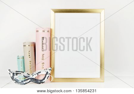 Frame mock up vintage and shabby style, pastel book, mask