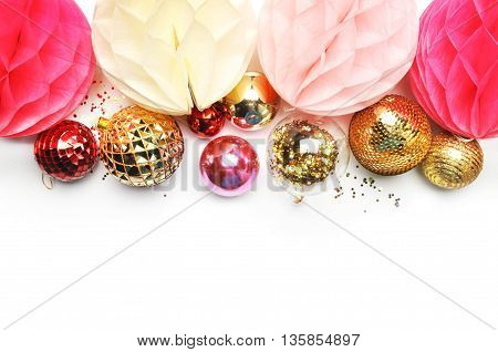 Flat lay desk. Up view. Hero and header for site. Background mock-up. Paper ball with golden ball, confettis