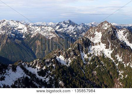 The Snowy Olympic Mountain Range.  Mt. Washington Summit, Olympic National Park, Washington