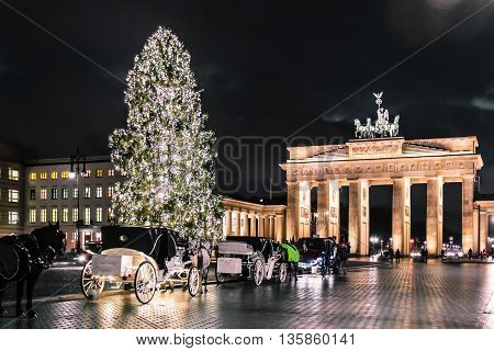 Brandenburg Gate At Christimas In Berlin, Germany