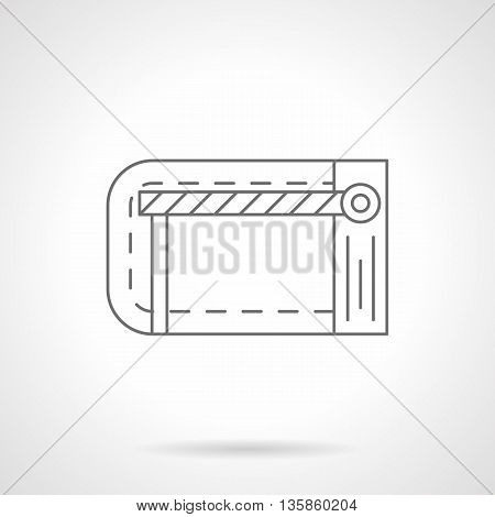 Road checkpoint station with barrier or stop gate. Traffic security entrance. Equipment for parking, railway crossing, construction sites and others. Flat line style vector icon.
