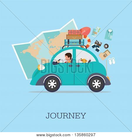 Planning summer vacations Travel by car World Travel Summer holidayTourism and vacation theme. Flat design vector illustration.