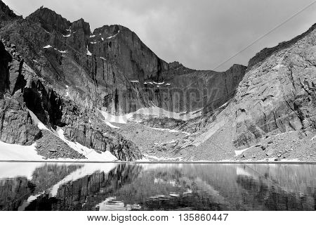 Chasm Lake Below The Diamond Face of Longs Peak.  Rocky Mountain National Park, Colorado.