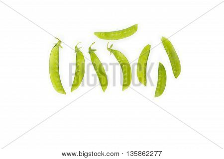 Green peas, sugar Pea, Sweet peas, Garden Pea, snow peas on white background.
