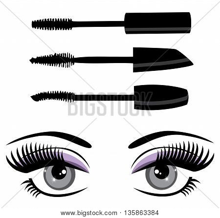 vector illustration of mascara and eyes with long lashes