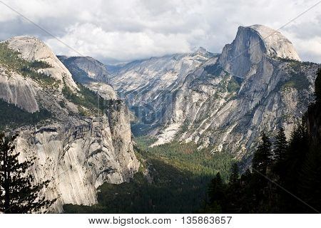 Half Dome and Royal Arches From Glacier Point.  Yosemite National Park, Sierra Nevada, California