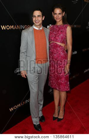 NEW YORK-MAR 30: Katie Holmes (R) and designer Zac Posen attend the